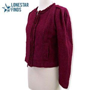 CAbi Britt Boucle Fringe Hem Tweed Jacket Sz 8 R6